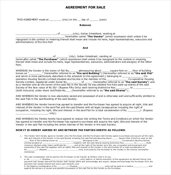 Sales Agreement Template Free Word PDF Document Download - Template for selling a house