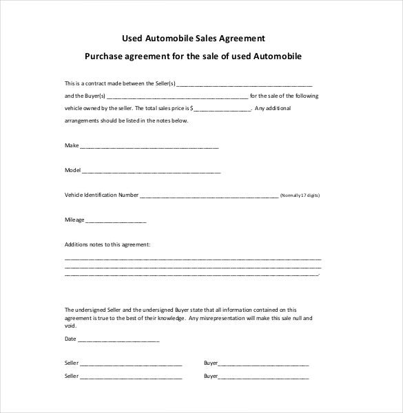 Sales Agreement Template 10 Free Word PDF Document Download – Vehicle Purchase Agreement