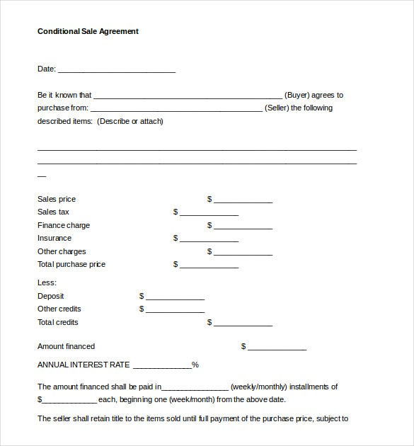 Conditional Sales Agreement Template Document Free Download On Free Sales Agreement Template