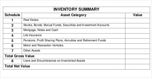 free estate inventory template download in pdf
