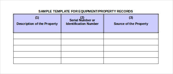 simple template for property records of estate inventory