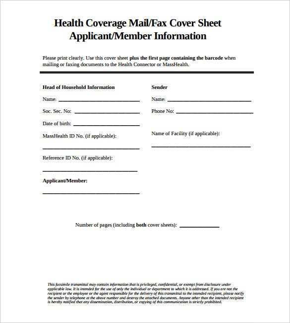 health coverage standard fax cover sheet example pdf free download
