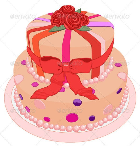 pink color birthday cake template