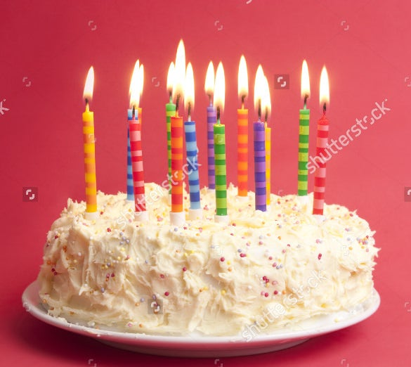 attractive birthday cake with full of candles
