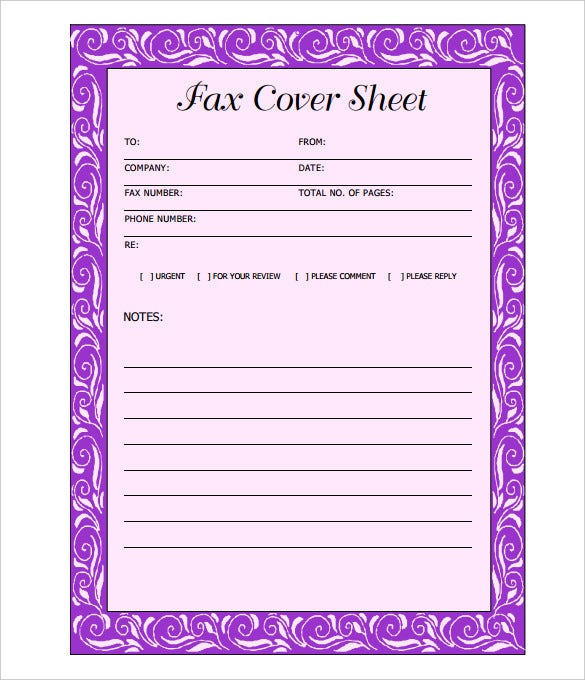 purple printable format blank fax cover sheet template for free