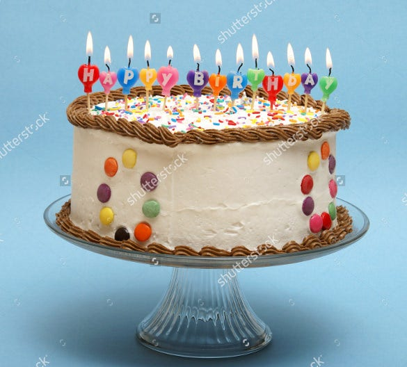 birthday cake template with birthday candles