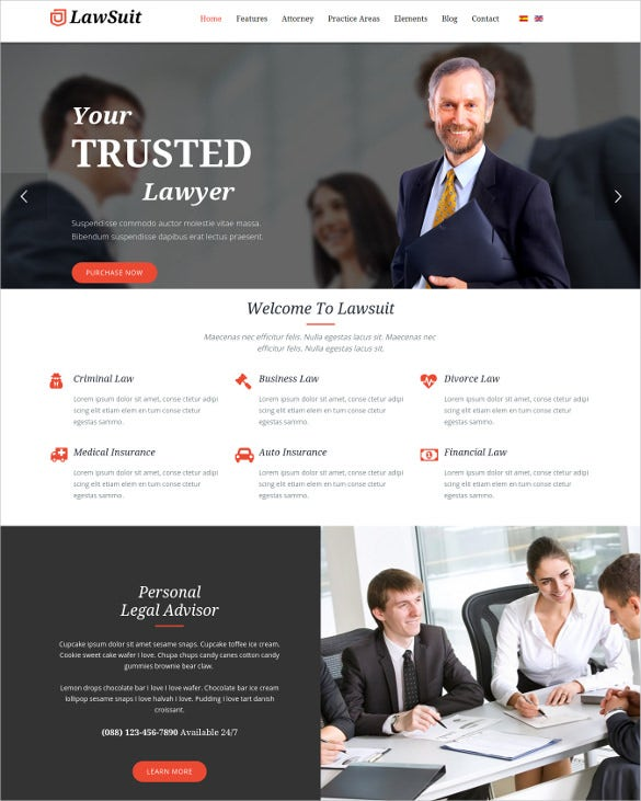 lawsuit lawyer attorney joomla template