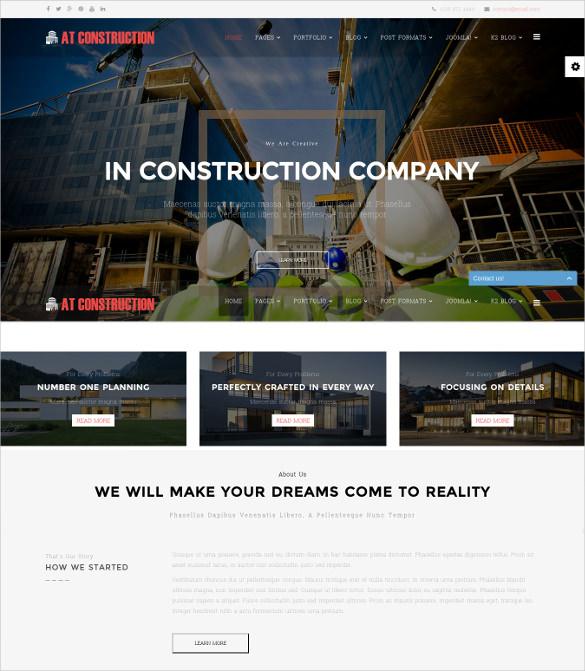 at construction joomla template