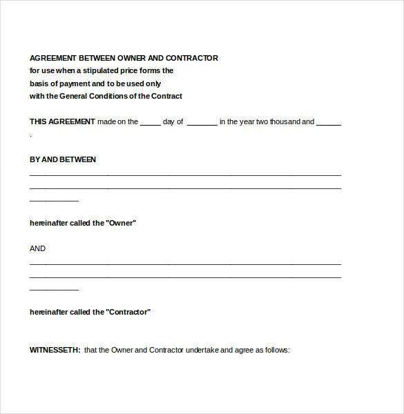 agreement between contractor owner document