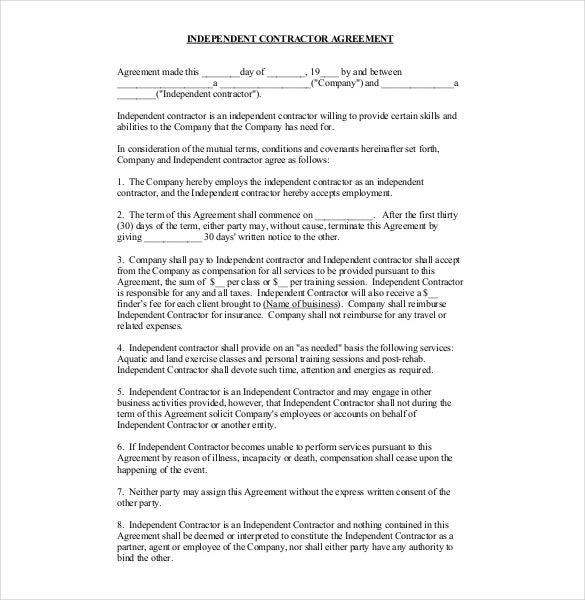 Contractor Agreement Template   Free Word Pdf Document Download
