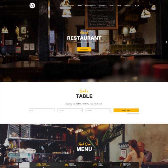 joomla restaurant template resca