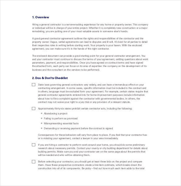Contractor Agreement Template – 10+ Free Word, Pdf Document