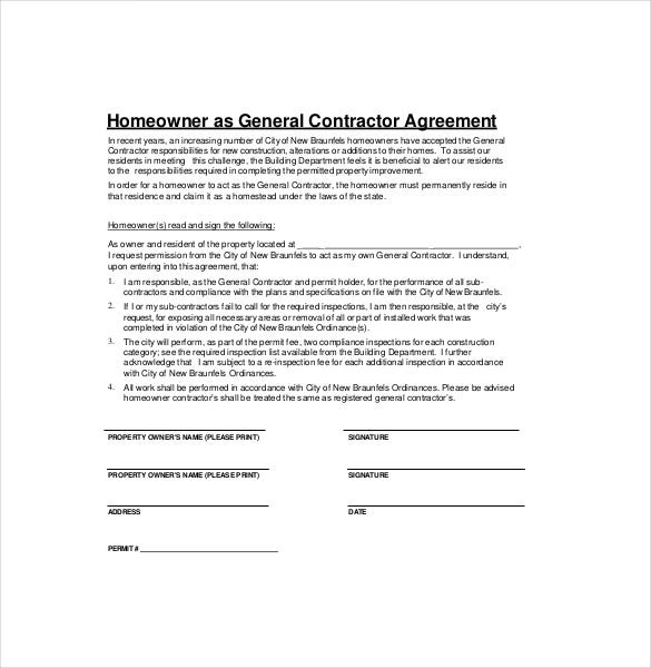 Homeowner As General Contractor Agreement Template Pertaining To Contractor Agreement Template Word