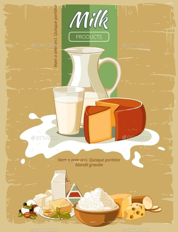 milk products vintage poster eps download