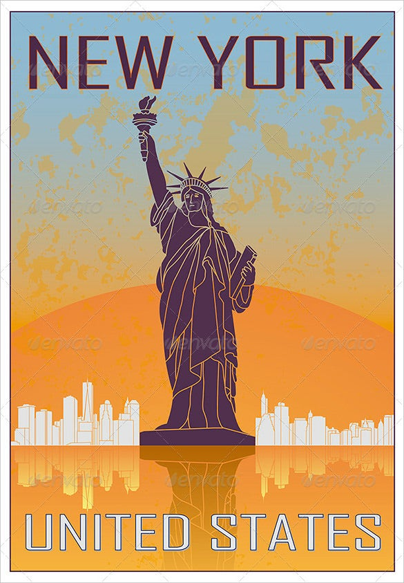 new york vintage poster in orange background
