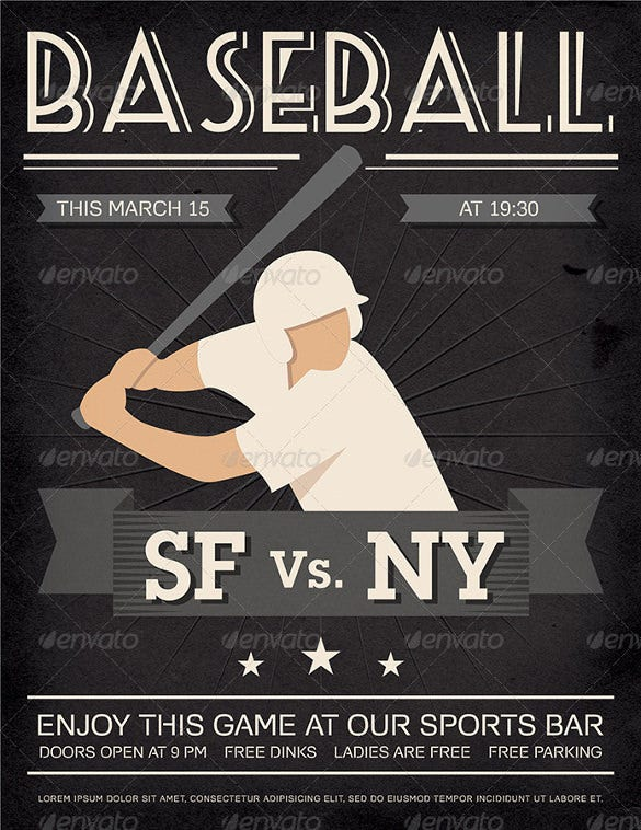 vintage and detailed baseball poster psd format
