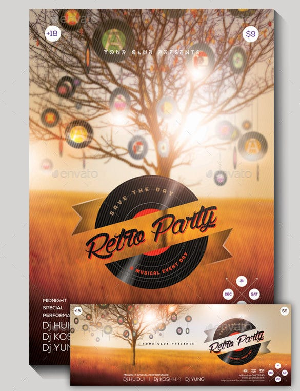 retro party vintage poster in photoshop psd download