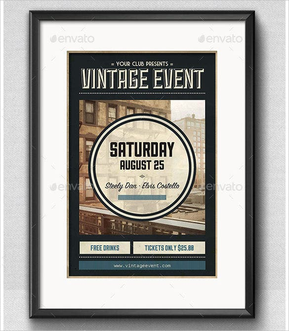vintage event poster format in indesign download