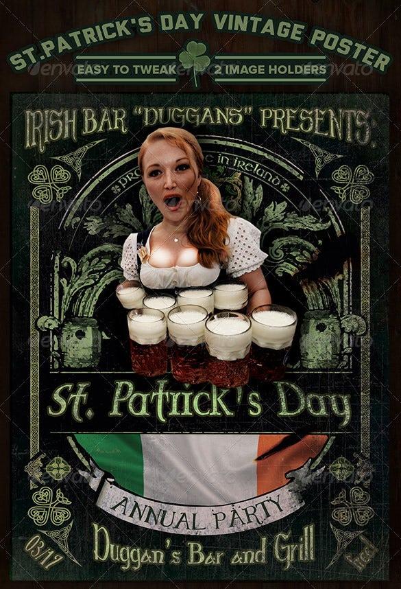 saint patricks day vintage poster design editable