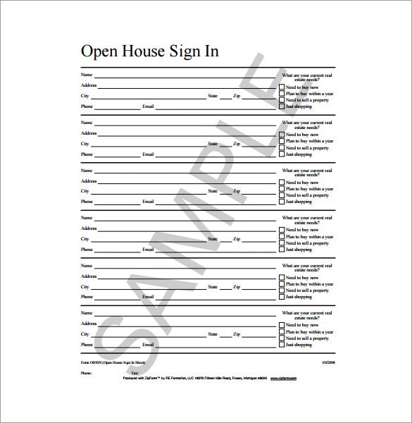 open house sign in sheet sample template free download