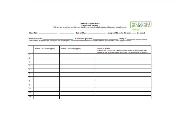 customized sign in sheet word template free download