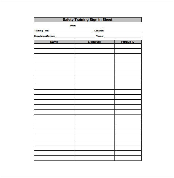 safety training sign in sheet pdf format free download