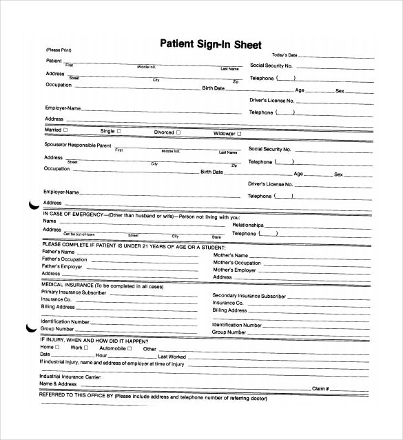 patient sign in sheet example pdf free download