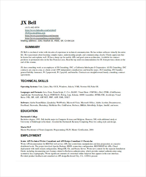 resume for a technical writer