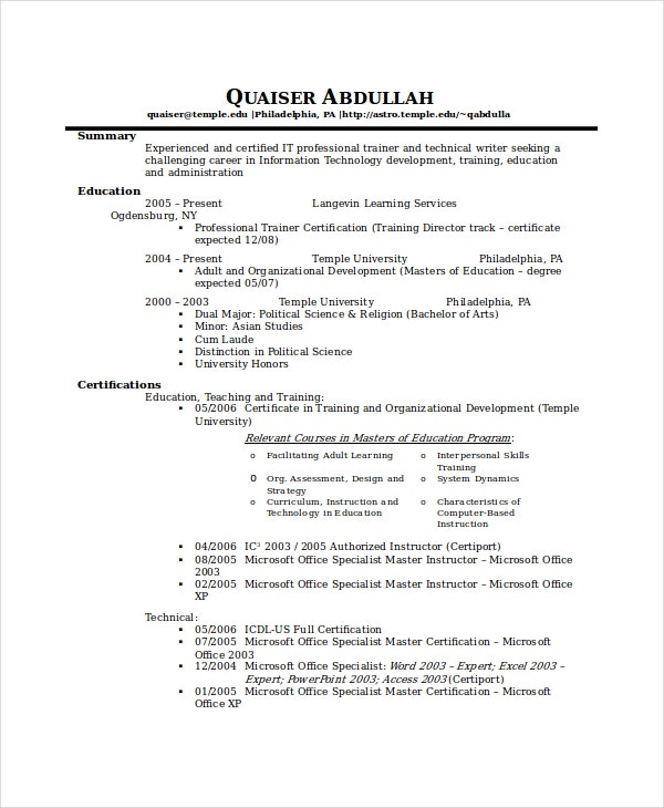 it technical resume template - Certified Writer Resume