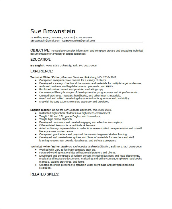 sample technical resume template - Technical Writer Resume
