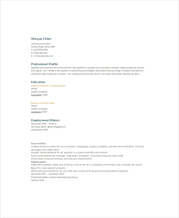 10 Technical Writer Resume Templates Pdf Doc Free