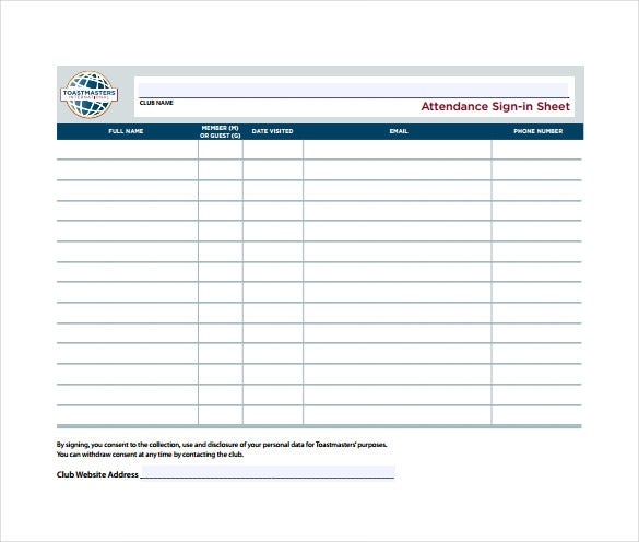attendance sign in sheet example template free download