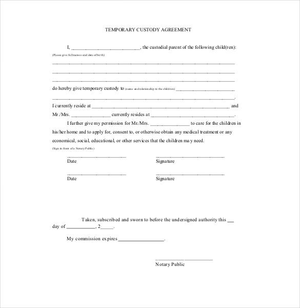 temporary custody letter template - custody agreement template 10 free word pdf document