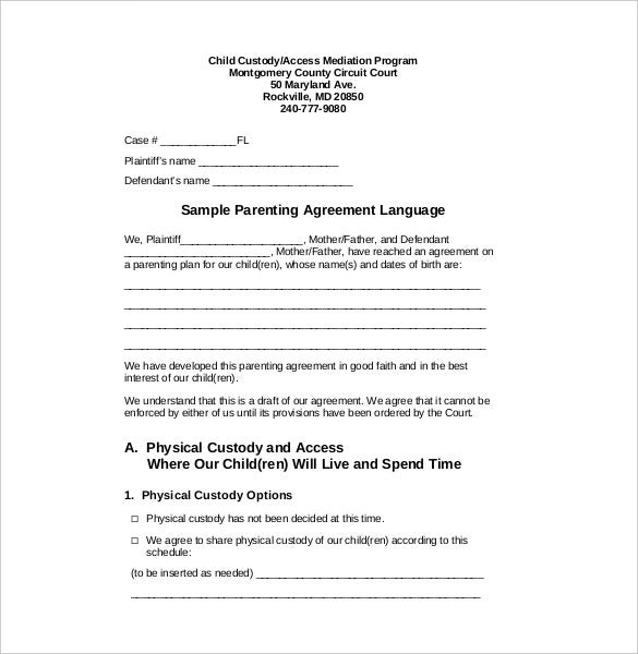 parenting plan template california - custody agreement template 10 free word pdf document