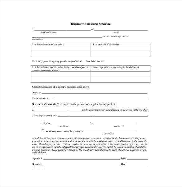 Custody agreement template 10 free word pdf document download acsedu in cases where a child needs temporary custody away from home the guardian should sign a temporary guardianship agreement spiritdancerdesigns Images