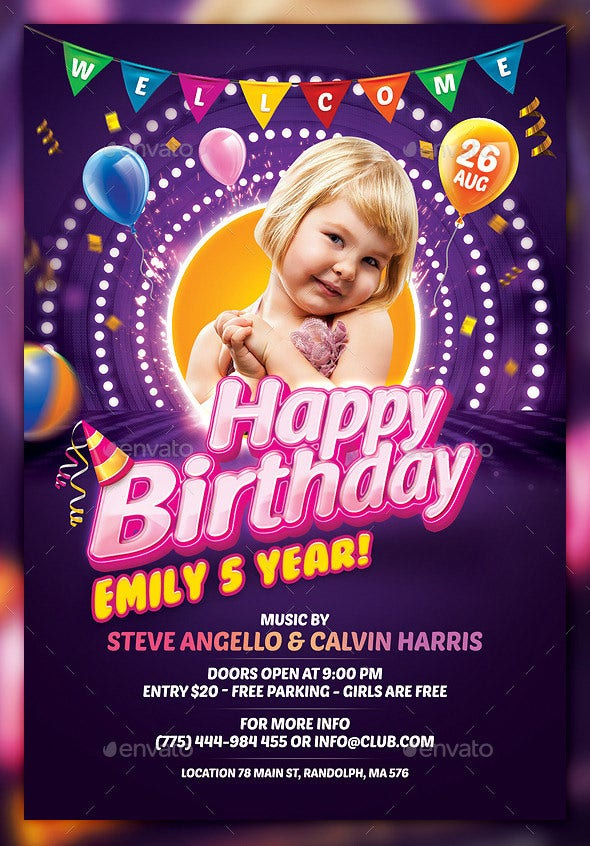26 birthday flyer templates sample example format download attractive kids birthday flyer template maxwellsz