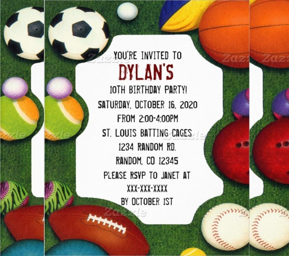 sports themed birthday flyer template