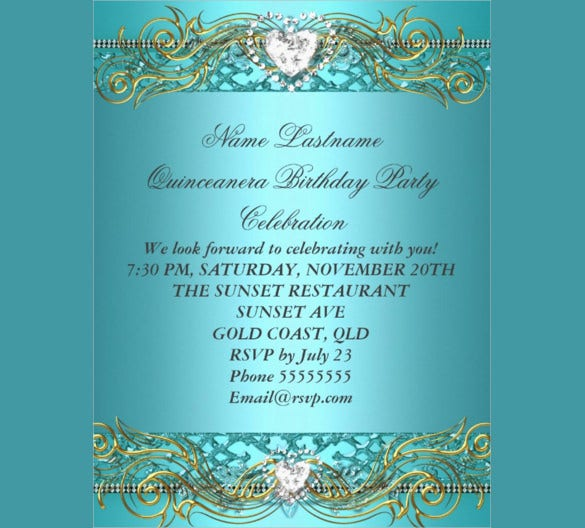 birthday flyer template with teal blue silver gold