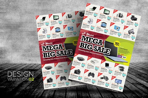 big sale promotion flyer templates with 3 design