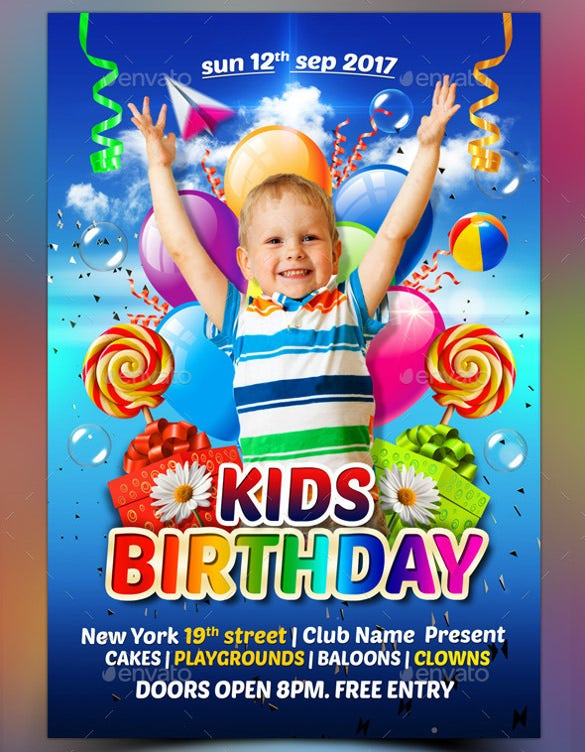 26 birthday flyer templates sample example format download colorful kids birthday flyer template maxwellsz