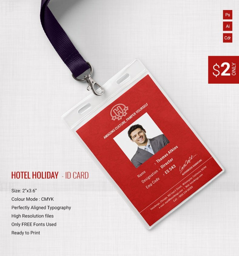 gorgeous hotel holiday identity card template free premium