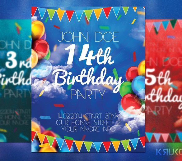 14th birthday flyer template free download