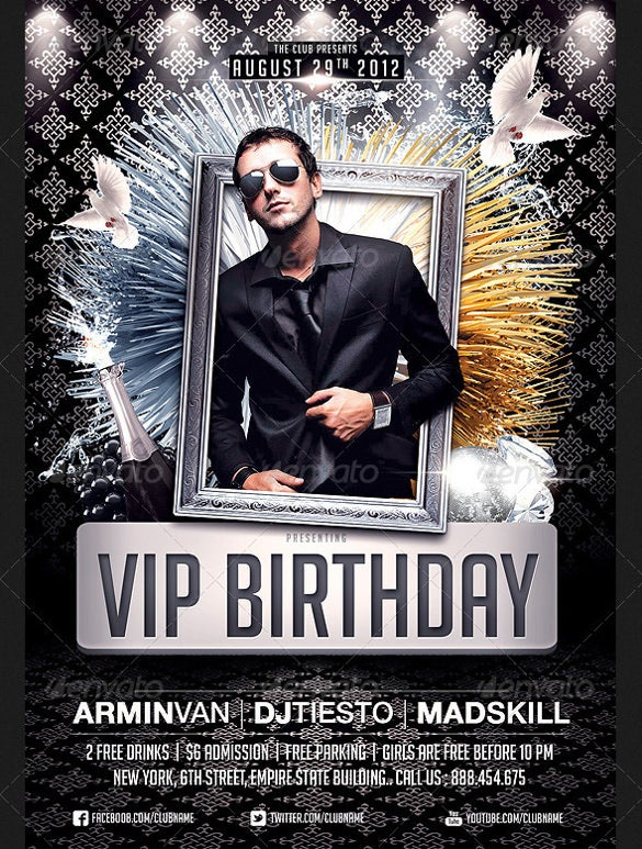 Set Of 2 VIP Birthday Flyer Templates