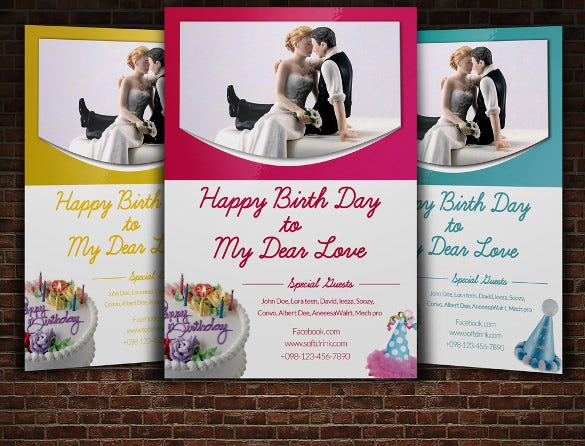 birthday party flyer template for couple