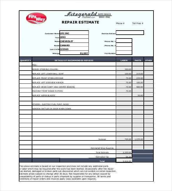 Repair Estimate Template Free Word Excel PDF Documents - Fillable auto repair invoice