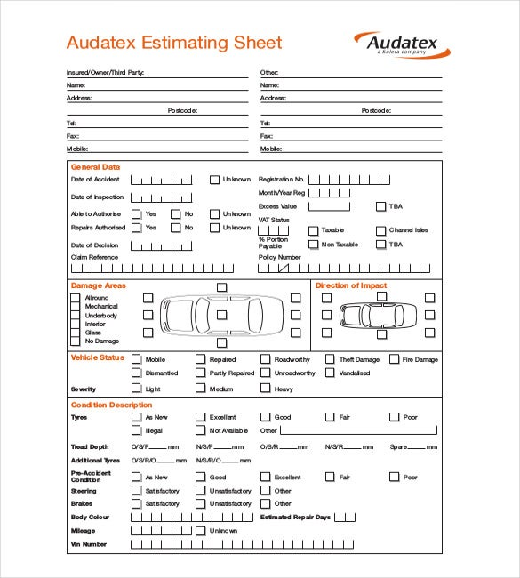 audatex repair estimating sheet