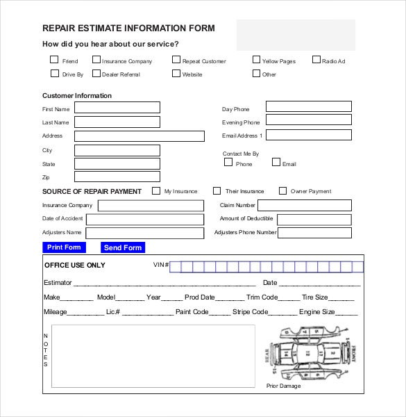 repair estimate information form