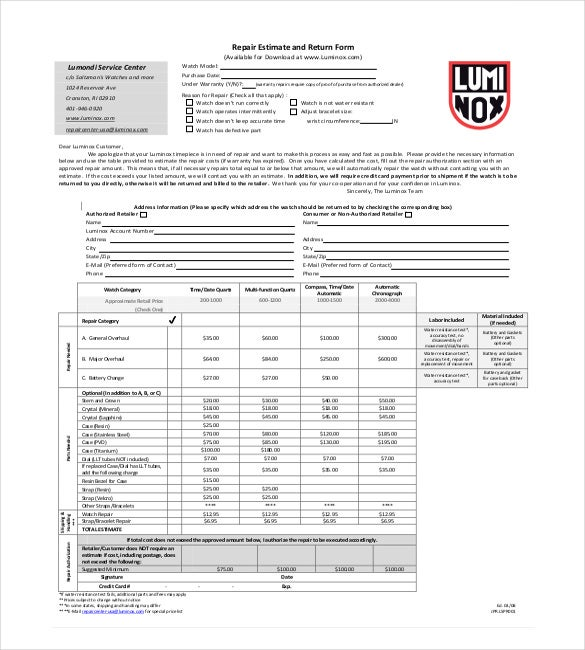 Automotive Repair Estimate Template - Varilex