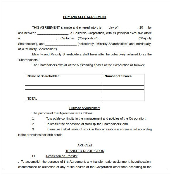 buy and sell agreement document