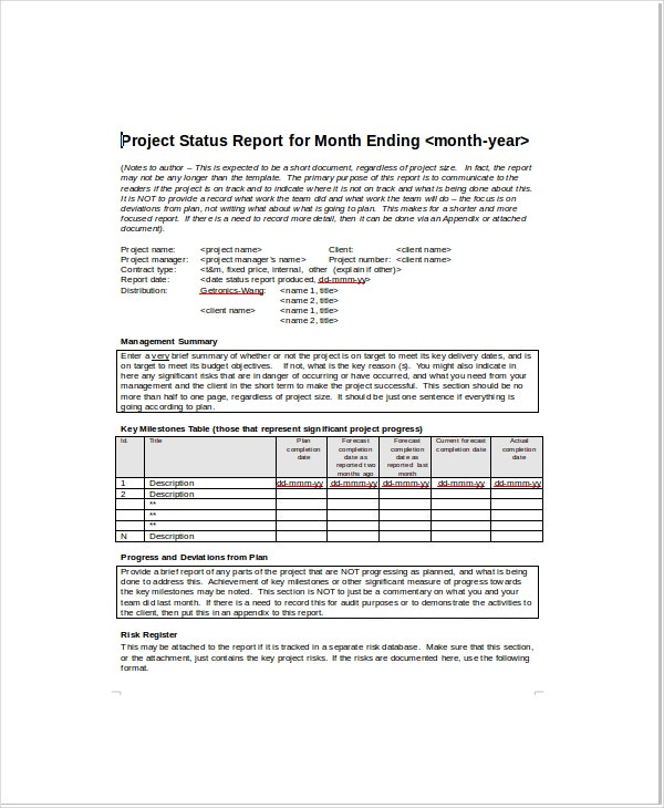 Project Status Templates  Free Sample  Example  Format